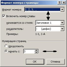 Нумерация в Word с заданной страницы