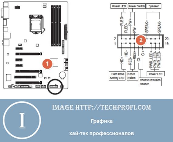 Схема подключения разъемов передней панели