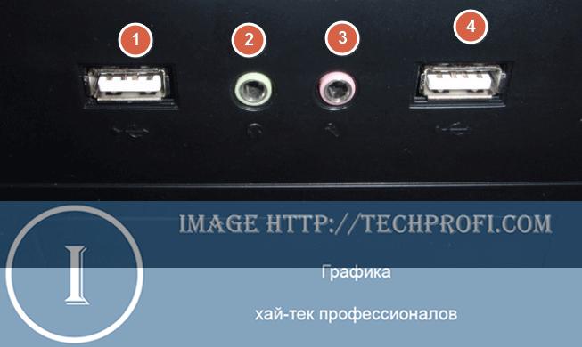 Разъем для подключения наушников на передней панел компьютера