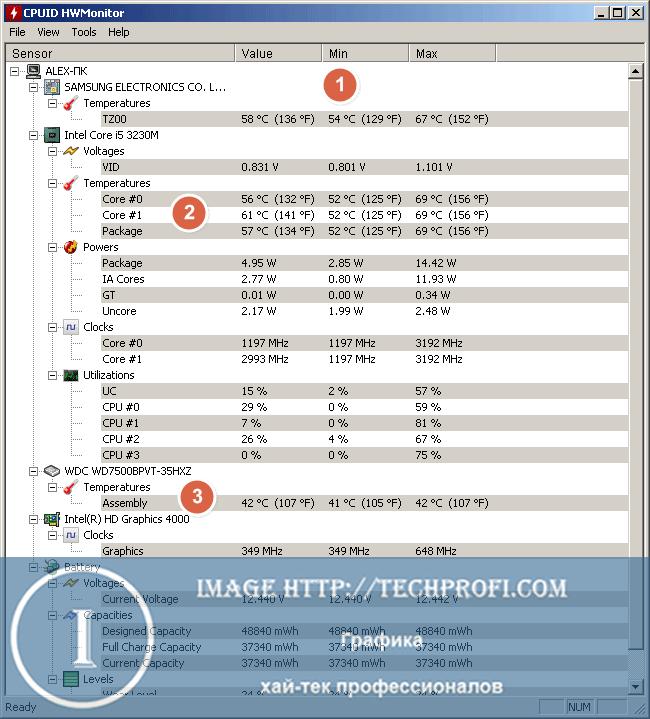 Диагностика компьютера с помощью программы HWmonitor