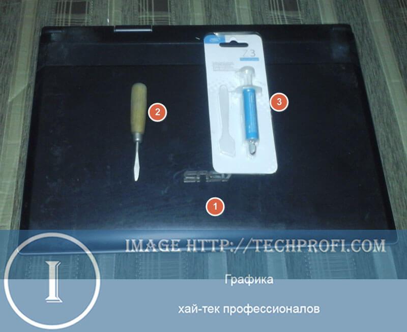 Ноутбук, отвертка и термопаста для замены