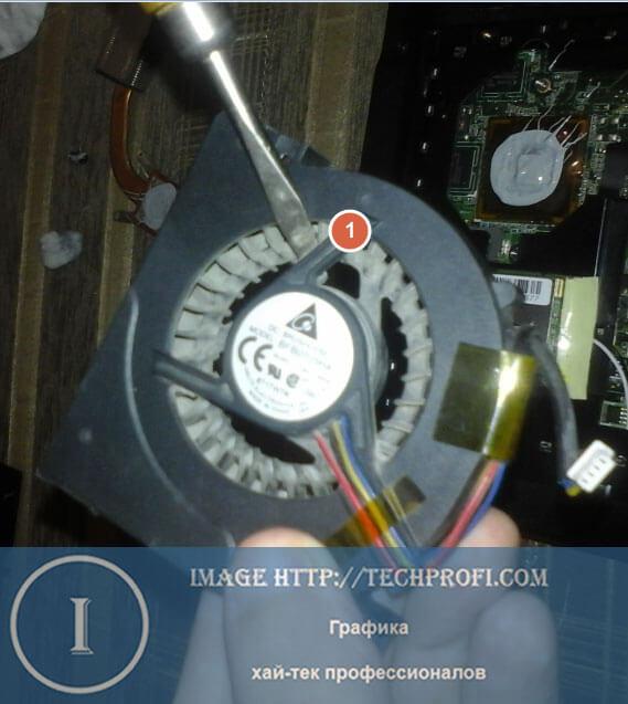 Очищаем вентилятор от пыли